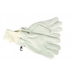 Перчатки кожанные белые короткие со стяжкой